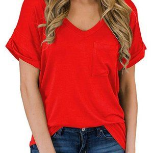 V-neck pocket short sleeve top 2